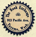 The Book Exchange, Tacoma, Washington (23mm dia.). Courtesy of Donald Francis.
