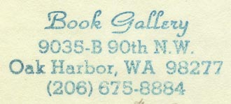Book Gallery, Oak Harbor, Washington (inkstamp, 51mm x 21mm, ca.1980s).
