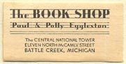 The Book Shop, Paul & Polly Eggleston, Battle Creek, Michigan (29mm x 14mm). Courtesy of Donald Francis.