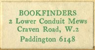 Bookfinders, Paddington [London], England (32mm x 17mm, ca.1934). Courtesy of R. Behra.