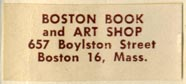 Boston Book and Art Shop, Boston, Massachusetts (30mm x 13mm, after 1953). Courtesy of R. Behra.