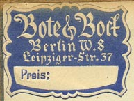 Bote & Bock, Berlin, Germany (31mm x 23mm, ca.1920s)