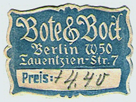 Bote & Bock, Berlin, Germany (31mm x 23mm, after 1913). Courtesy of Michael Kunze.