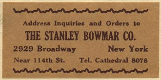 The Stanley Bowmar Co., New York (54mm x 26mm, ca.1930)