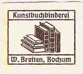 W. Breiten, Kunstbuchbinderei, Bochum, Germany (26mm x 23mm, ca.1913). Courtesy of Michael Kunze.