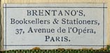 Brentano's Booksellers & Stationers, 37 Avenue de l'Opera, Paris (25mm x 11mm)