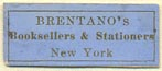 Brentano's, Booksellers & Stationers, New York (24mm x 10mm)