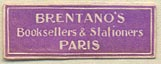 Brentano's Booksellers & Stationers, Paris, France (26mm x 10mm)