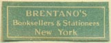 Brentano�s, Booksellers & Stationers, New York, NY (26mm x 10mm)