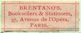 Brentano�s, Paris (26mm x 11mm, ca.1924)