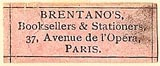 Brentano's Booksellers & Stationers, Paris (pink, 26mm x 10mm)