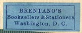 Brentano's, Booksellers & Stationers, Washington, D.C. (26mm x 10mm, ca.1930s?)