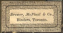 Brewer, McPhail & Co., Binders, Toronto, Canada (34mm x 18mm, ca.1840s?)
