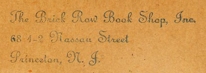The Brick Row Book Shop, Princeton, New Jersey (inkstamp, 63mm x 18mm, ca.1920s-30s)