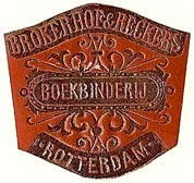 Brokerhof & Reckers, Boekbinderij, Rotterdam, Netherlands (29mm x 27mm). Courtesy of S. Loreck.