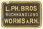 L. Ph. Bros, Buchhandlung, Worms, Germany (22mm x 15mm). Courtesy of S. Loreck.