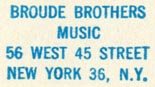 Broude Brothers, Music, New York, NY (inkstamp, 24mm x 13mm)