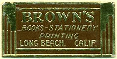 Brown's Books - Stationery - Printing,  Long Beach, California (38mm x 19mm)