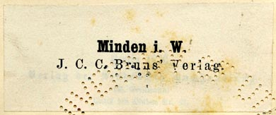 J.C.C. Bruns' Verlag, Minden, Germany (65mm x 27mm). Courtesy of R. Behra.