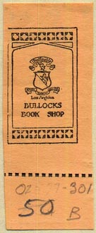 Bullocks Book Shop, Los Angeles, California (21mm x 55mm, with tear-off)