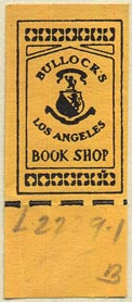 Bullocks Book Shop, Los Angeles, California (19mm x 46mm, with tear-off)