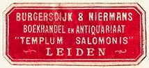 Burgersdijk & Niermans, Templum Salomonis, Boekhandel en Antiquariaat, Leiden, Netherlands (34mm x 15mm). Courtesy of S. Loreck.