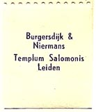 Burgersdijk & Niermans, Templum Salomonis, Leiden, Netherlands (21mm x 25mm, without tear-off). Courtesy of S. Loreck.