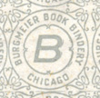 Burgmeier Book Bindery, Chicago, Illinois (13mm x 13mm, repeating pattern endpaper)