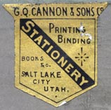 G.Q. Cannon & Sons, Salt Lake City, Utah (25mm x 24mm, ca.1870s?). Courtesy of Robert Behra.