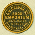 C.N. Caspar Co., Book Emporium, Milwaukee, Wisconsin (18mm dia.)
