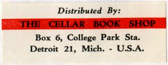 The Cellar Book Shop, Detroit, Michigan (54mm x 21mm, after 1958). Courtesy of R. Behra.