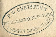 F.W. Christern, Foreign Bookseller, New York (32mm x 19mm)