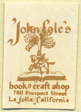 John Cole's Book & Craft Shop, La Jolla, California (25mm x 37mm)