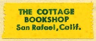 The Cottage Bookshop, San Rafael, California (23mm x 10mm, cellophane tape, ca.1950s?)