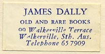 James Dally, Old and Rare Books, Walkerville, S.Aust [Australia] (33mm x 15mm, ca.1960s)