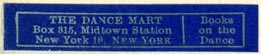 The Dance Mart, New York, NY (43mm x 9mm)