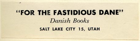 Danish Books, Salt Lake City, Utah (76mm x 22mm, ca.1950)