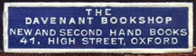 The Davenant Bookshop, Oxford, England (36mm x 10mm, ca.1932-39). Courtesy of R. Behra.