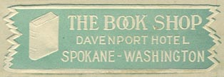 The Book Shop, Davenport Hotel, Spokane, Washington (51mm x 16mm, ca.1927). Courtesy of Third Place Books