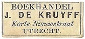 J. DeKruyff, Boekhandel, Utrecht, Netherlands (27mm x 12mm). Courtesy of S. Loreck.