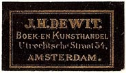 J.H. DeWit, Boekhandel, Amsterdam, Netherlands (30mm x 17mm). Courtesy of S. Loreck.