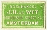 J.H. DeWit, Boekhandel, Amsterdam, Netherlands (25mm x 15mm). Courtesy of S. Loreck.