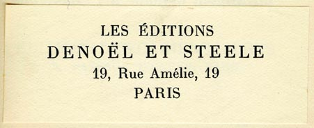 Les Éditions Denoël et Steele, Paris, France (75mm x 29mm, ca.1933)