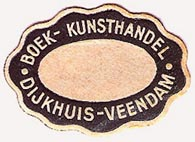 Dijkhuis, Boek- & Kunsthandel, Veendam, Netherlands (31mm x 22mm, after 1940)