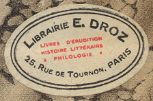 Librairie E. Droz, Paris France