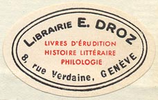 Librairie E. Droz, Geneva, Switzerland (37mm x 23mm, ca.1960)