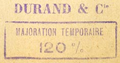 Durand & Cie., Paris, France (inkstamp, 37mm x 19mm)