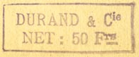 Durand & Cie., Paris, France (inkstamp, 32mm x 12mm)
