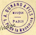 A. Durand & fils, Paris, France (inkstamp, 20mm dia.)