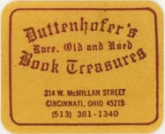 Duttenhofer's Book Treasures, Cincinnati, Ohio (approx 31mm x 25mm). Courtesy of J.C. & P.C. Dast.